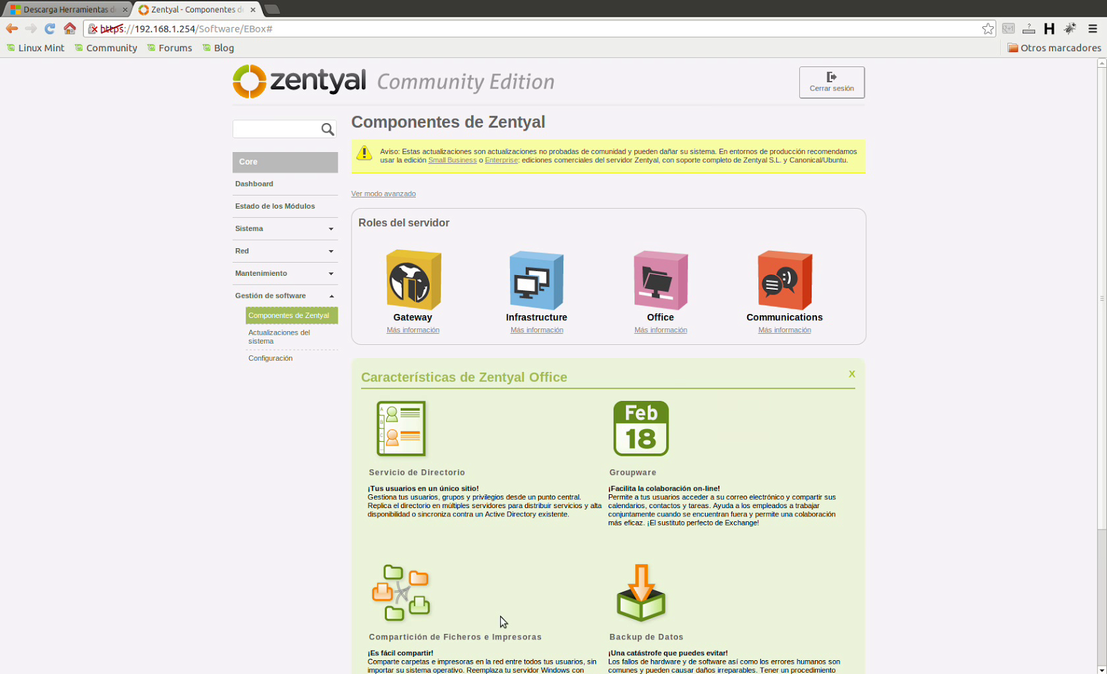 Controlador de dominio con Zentyal y clientes windows 7