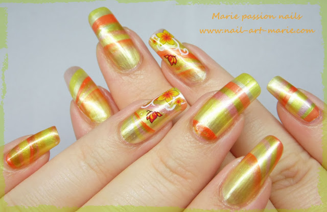 Nail Art Water marble d' Automne2