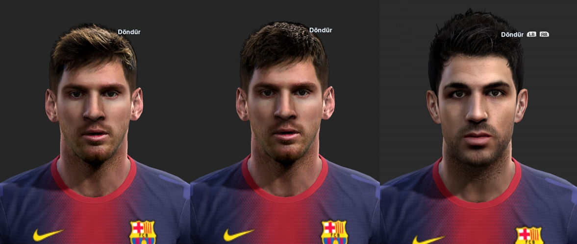 Faces de Messi e Cesc Fábregas by Ilhan para PES 2013
