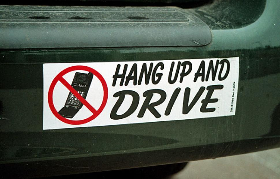 Distracted driving sticker