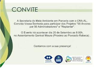 "DELMIRO GOUVEIA: Secretaria do Meio Ambiente promove os  Projetos ""50 Árvores por 50 Administradores"" e ""Replantar"""