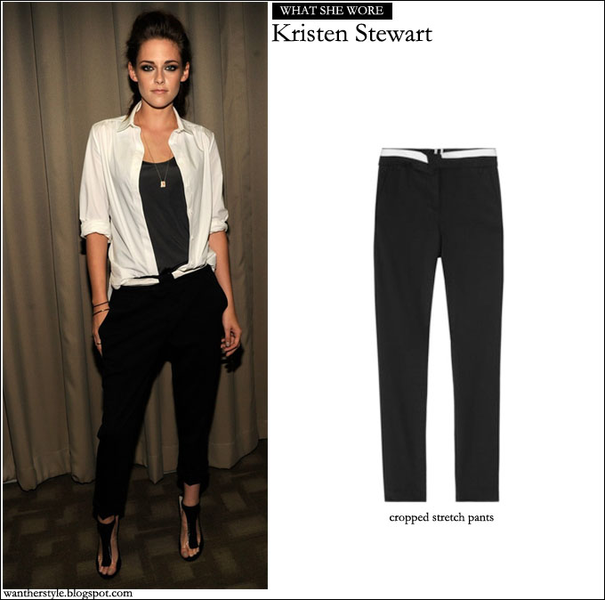 What She Wore Kristen Stewart In Black Cropped Pants Black Top And
