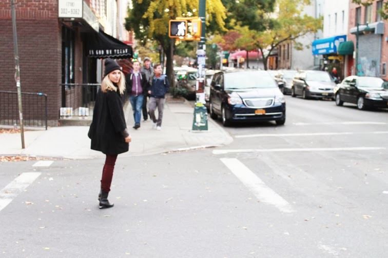 Street crossing Williamsburg Brooklyn Joe Fresh cape coat Rag & Bone cords Alexander Wang Anouck boots