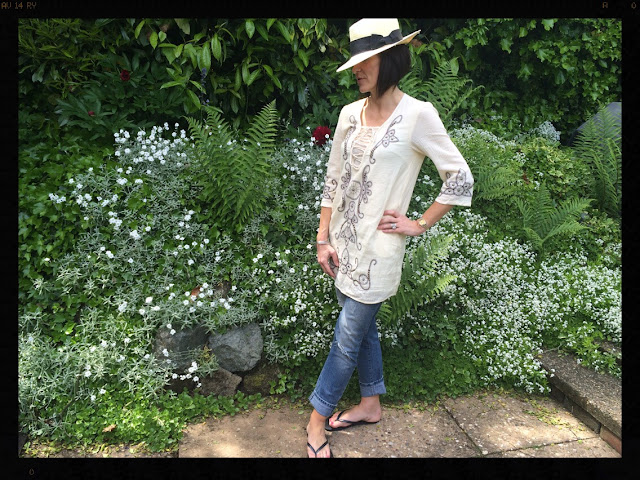 la Redoute Long Sleeved Dress With Embroidery and Studs My Midlife Fashion, Panama Hat, Havaianas, Distressed denim, boyfriend jeans