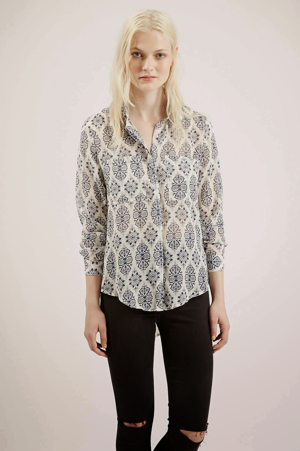 black white print shirt, tfnc patterned blouse,