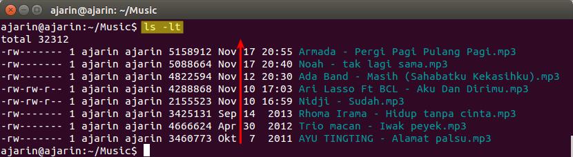 Manajemen File dan Direktori Linux - ls -lt