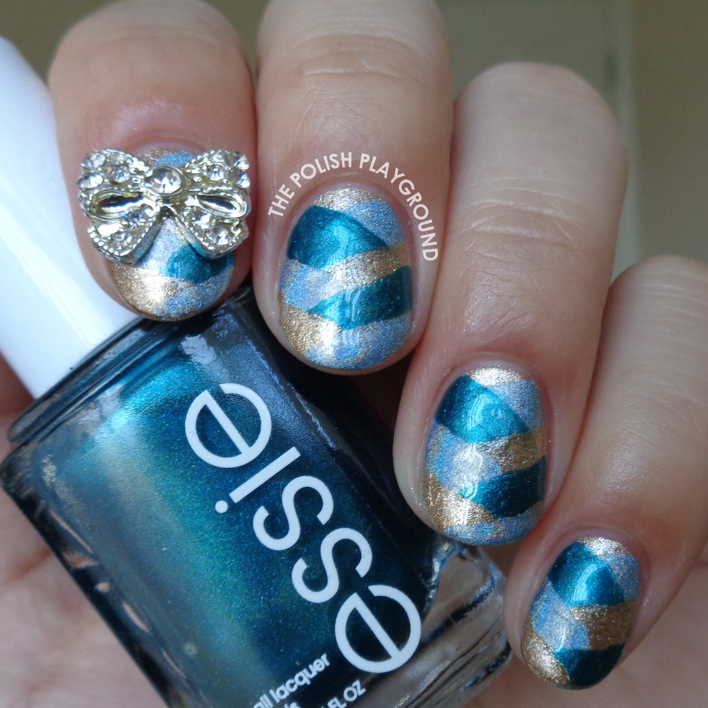 Blue and Gold Fishtail Braid with Bow Stud Accent Nail Art