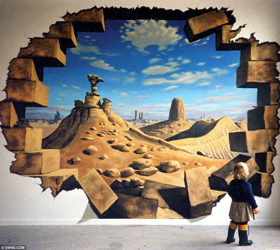 3d hole murals 3d cake image for Exterior wall mural ideas