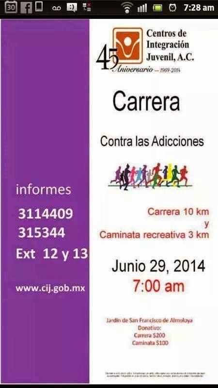 Carrera contra las Adicciones en Colima 2014