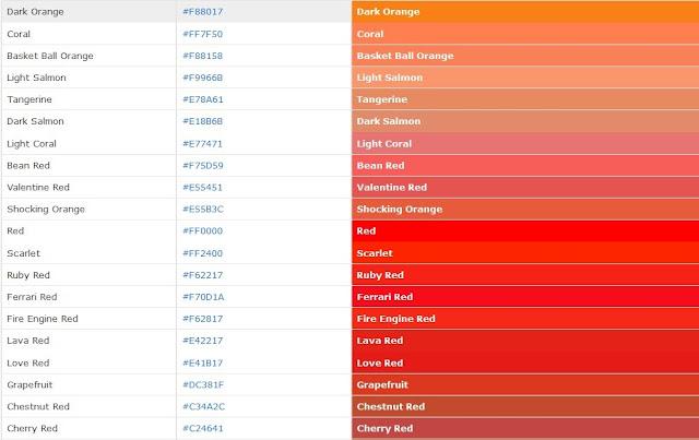 Kumpulan Code Warna HTML dan CSS