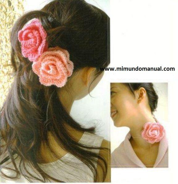 Mariposas para el pelo tejidas a crochet ~ Mimundomanual