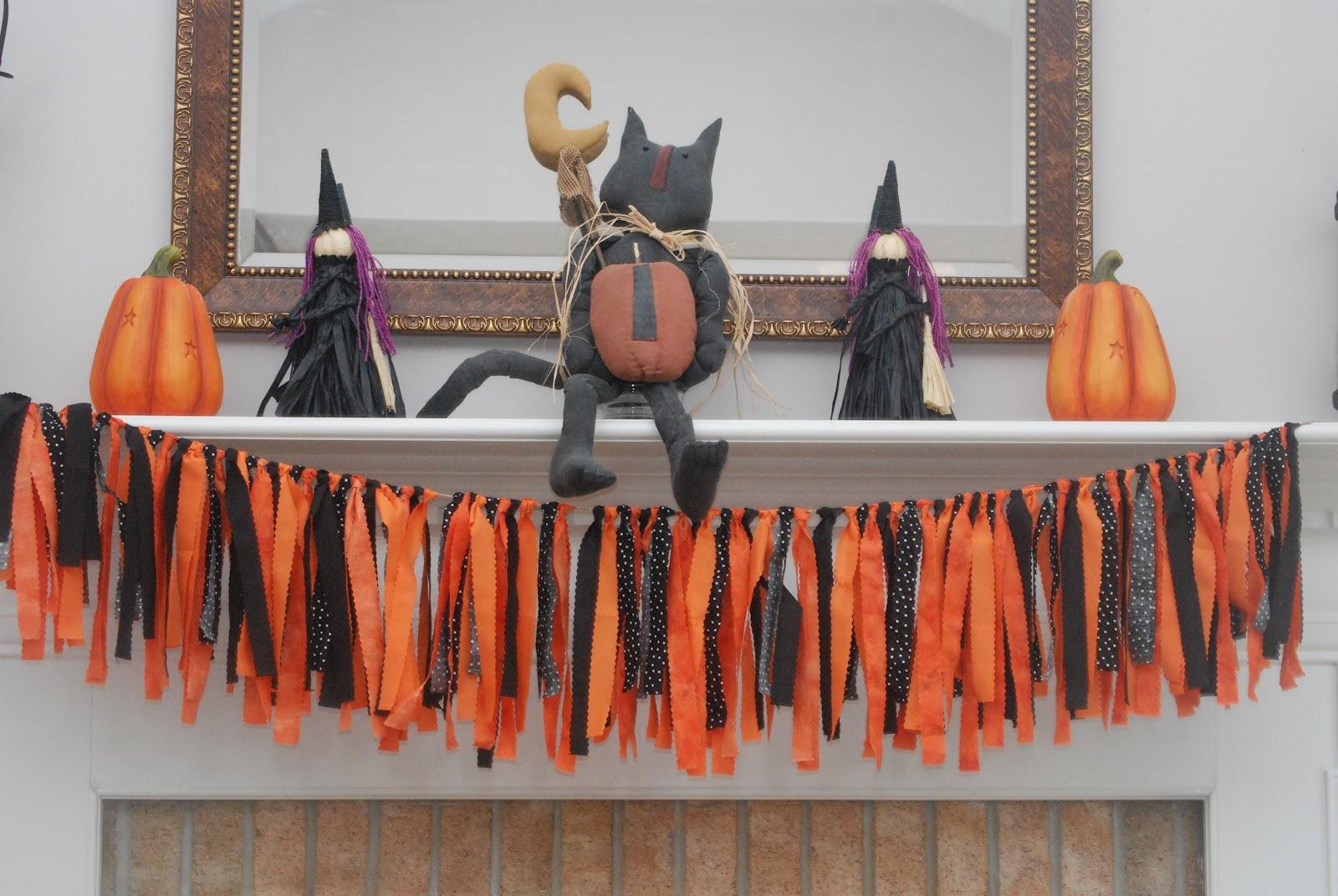 Party paper scissors halloween fabric streamer garland for Halloween girlande