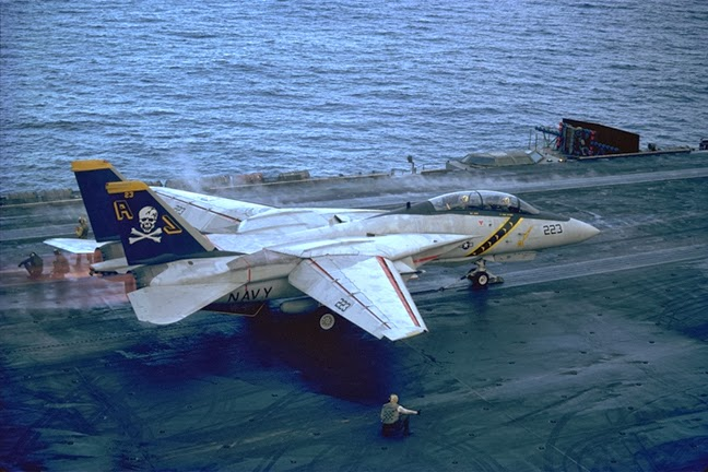 VA-84 Jolly Rogers F14 on flight deck of USS Nimitz during flight ops