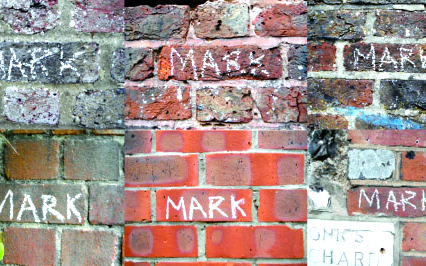 Bricks with chalk marks