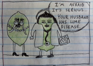 a lime nurse tells a lime wife that her lime husband has lime disease