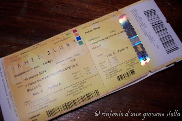 vendo due 2 biglietti concerto italiano james blunt assago (mi) 18 marzo 2014