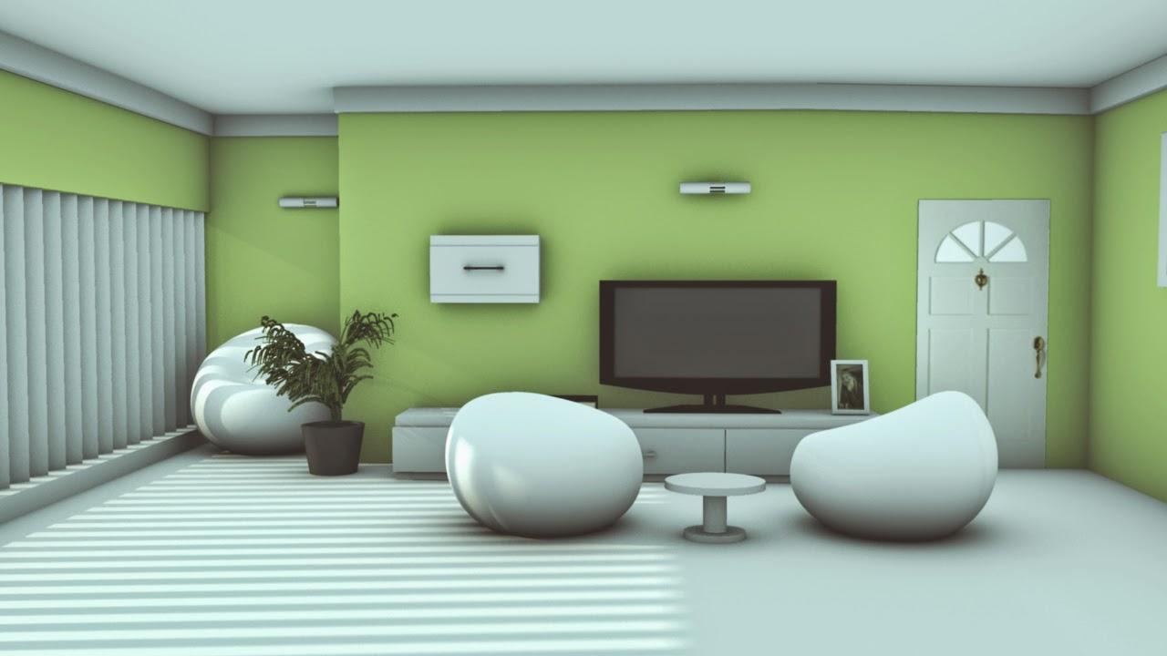 Interior Design Of A Modern HallMaya Photoshop