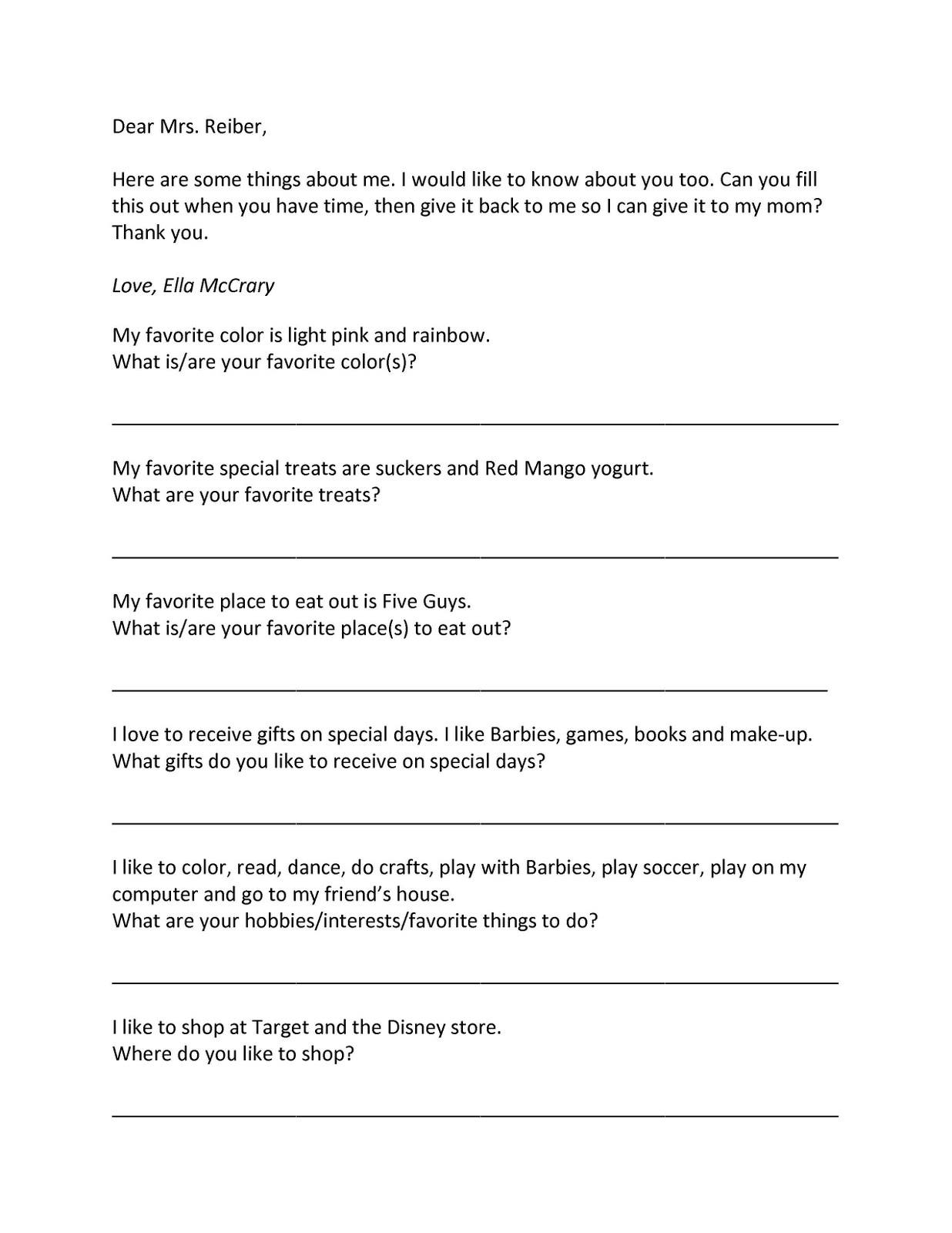 all about you form all things simple teacher favorites fill able form personalized