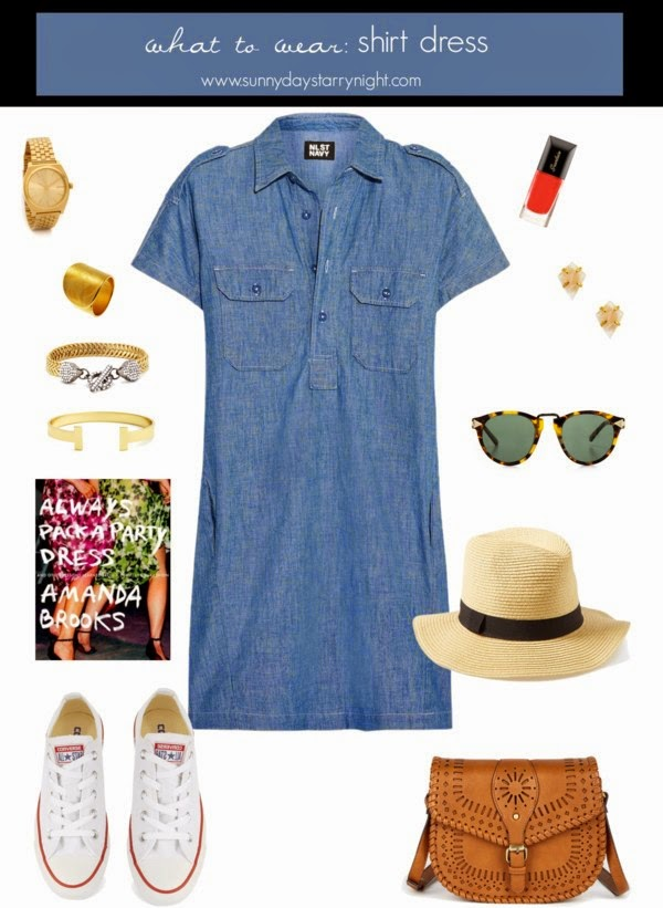 what to wear with a shirt dress