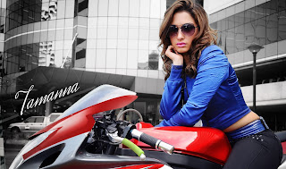 Tamanna Bhatia new look drive a bike wallpapers