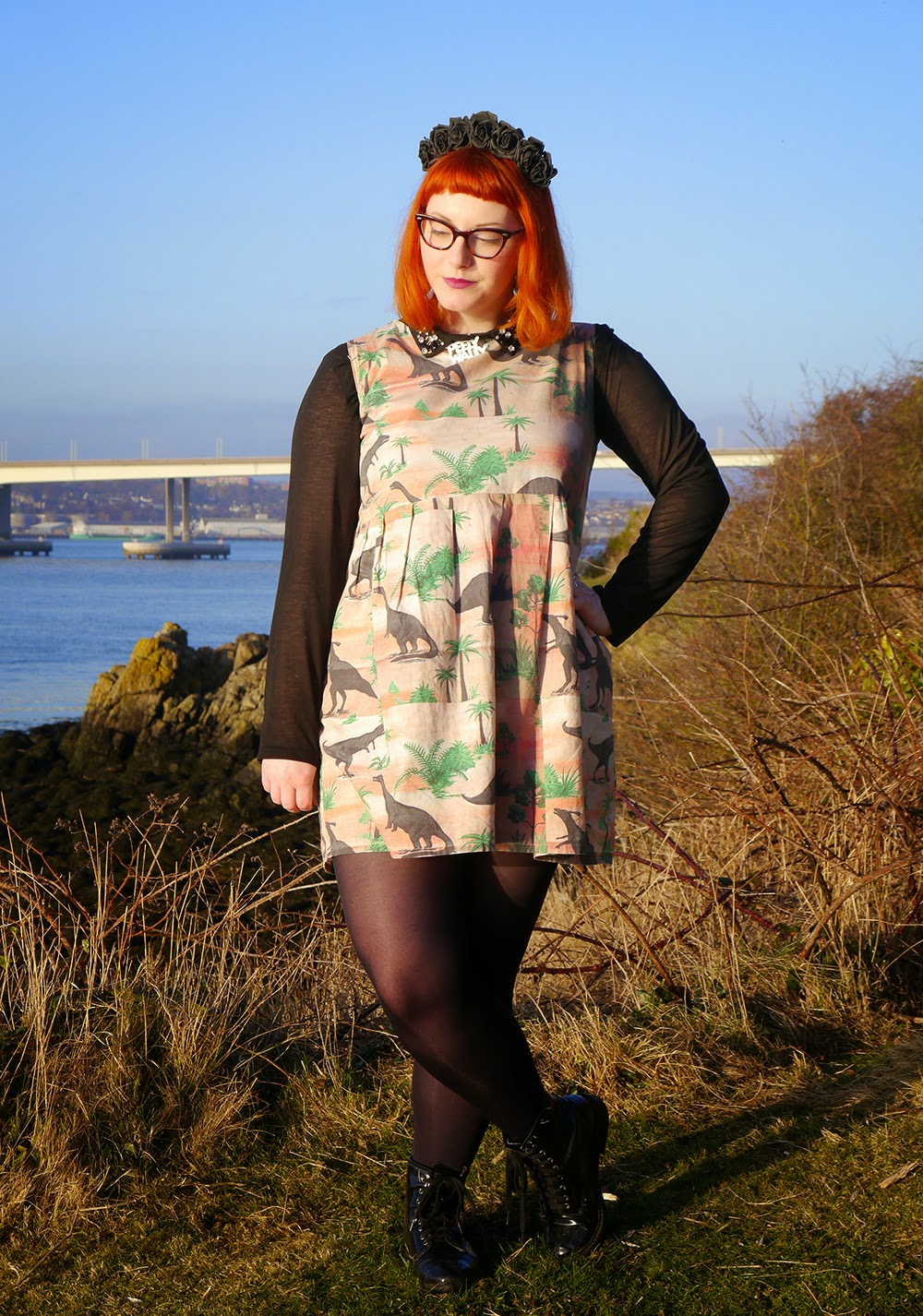 What Helen Wore, Valentine's Day, Adventures, Scottish Blogger, Crown and Glory Black Flower Headband, Bonnie Bling Scottish Sland Necklace, Vintage Style Me Dinosaur Dress, H and M Shirt
