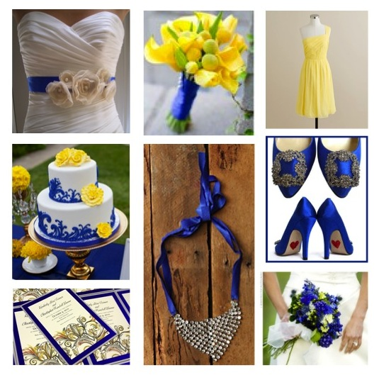 Spring wedding colors blue and yellow