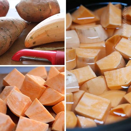 Slow Cooker Garlic Sweet Potato Mash   Skinnytaste