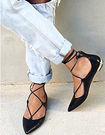 sepatu lace up flats