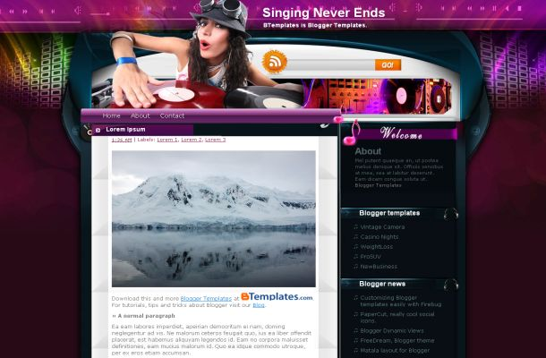 Free Girl DJ Music Purple Blogger Theme Template