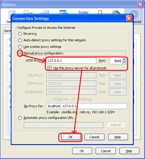 Isi HTTP Proxy menjadi menjadi 127.0.0.1 dan port : 9666, Klik OK