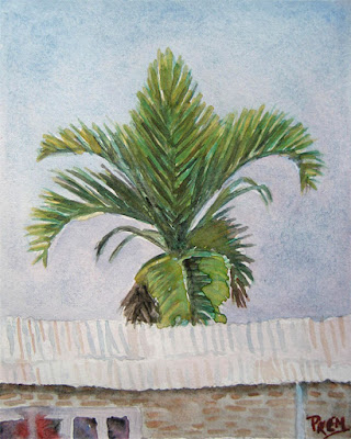 Watercolor Painting of Palm Tree