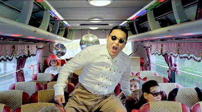 Psy Gangnam Style bus with disco balls