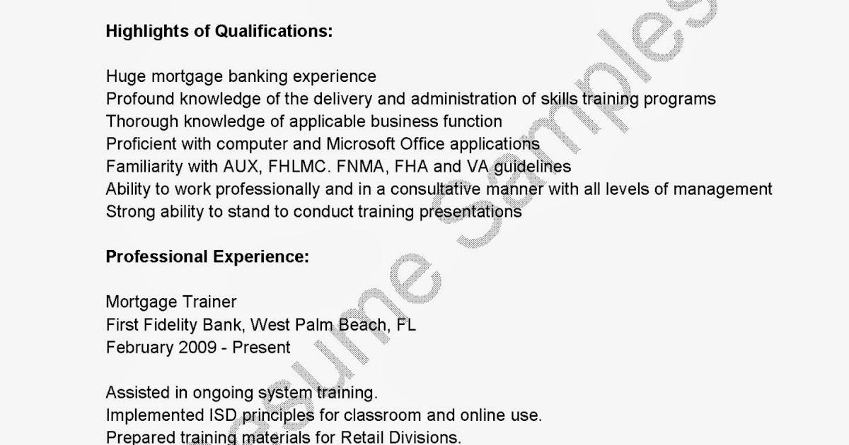 resume samples  mortgage trainer resume sample