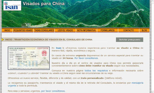 página web de Visado China Madrid: Trámite de visados para China, en el Consulado de China