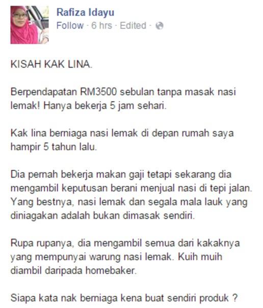 Rahsia Seorang Penjual Nasi Lemak Berpendapatan RM3500 Sebulan Didedah