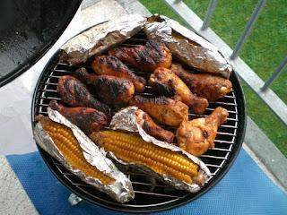 poulet à l'estragon, maïs cuit au barbecue