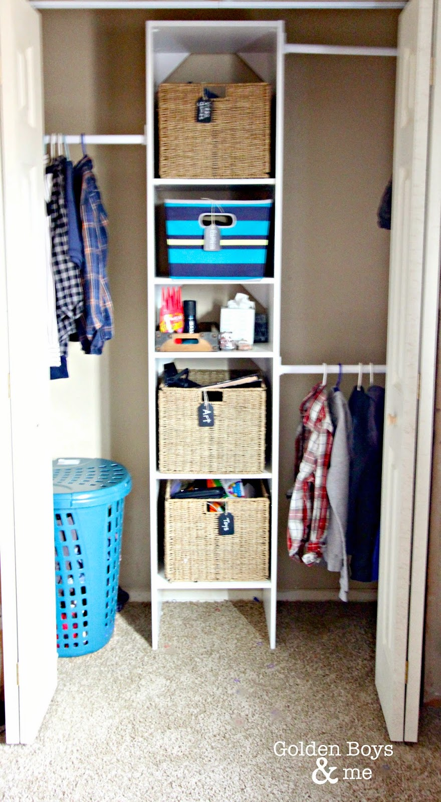 Home Depot closet organizer in boy's bedroom- www.goldenboysandme.com