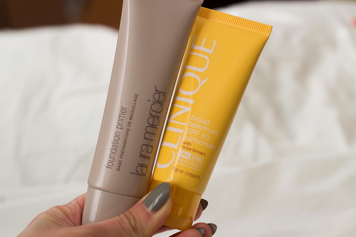 laura mercier foundation primer, clinique spf 50 sunscreen
