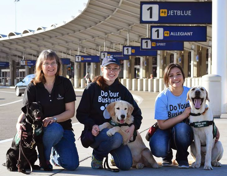Three female GDB puppy raisers pose with their guide dog puppies: black Lab, Golden Retriever, and yellow Lab (all wearing their green puppy coats) outside at the airport.