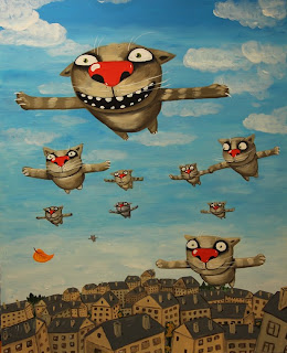 Flock of cats is flying in the sky like birds, drawings, funny pictures, comics, tale