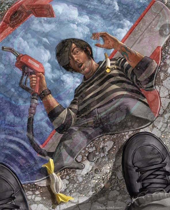 illustration de David Sladek representant voyant sa propre mort dans le megot tombant dans de l'essence