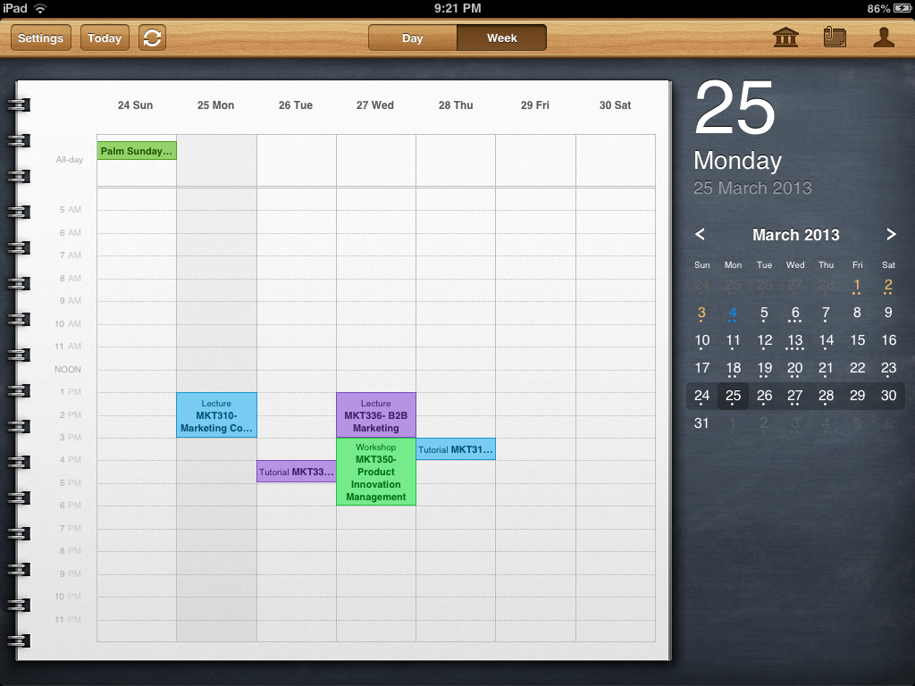 iStudiez app for iPad weekly appearance