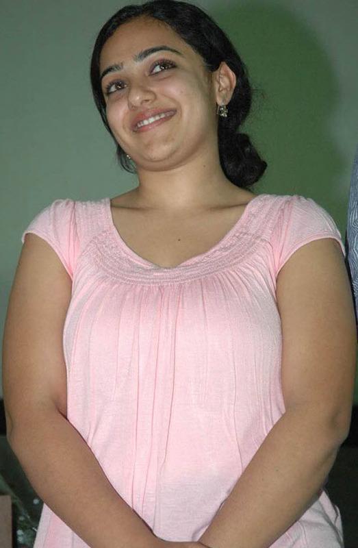 Nithya Menon Hot Pink Dress without Makeup Photos