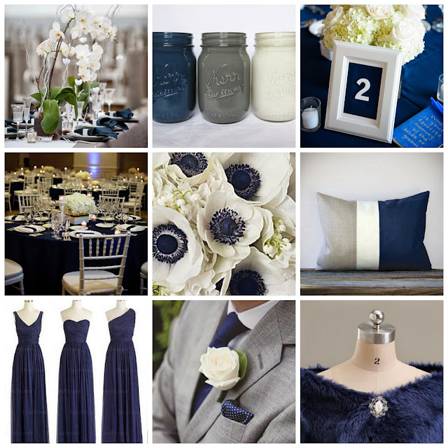 This inspiration board for a navy blue and gray wedding combines simplicity with elegance.