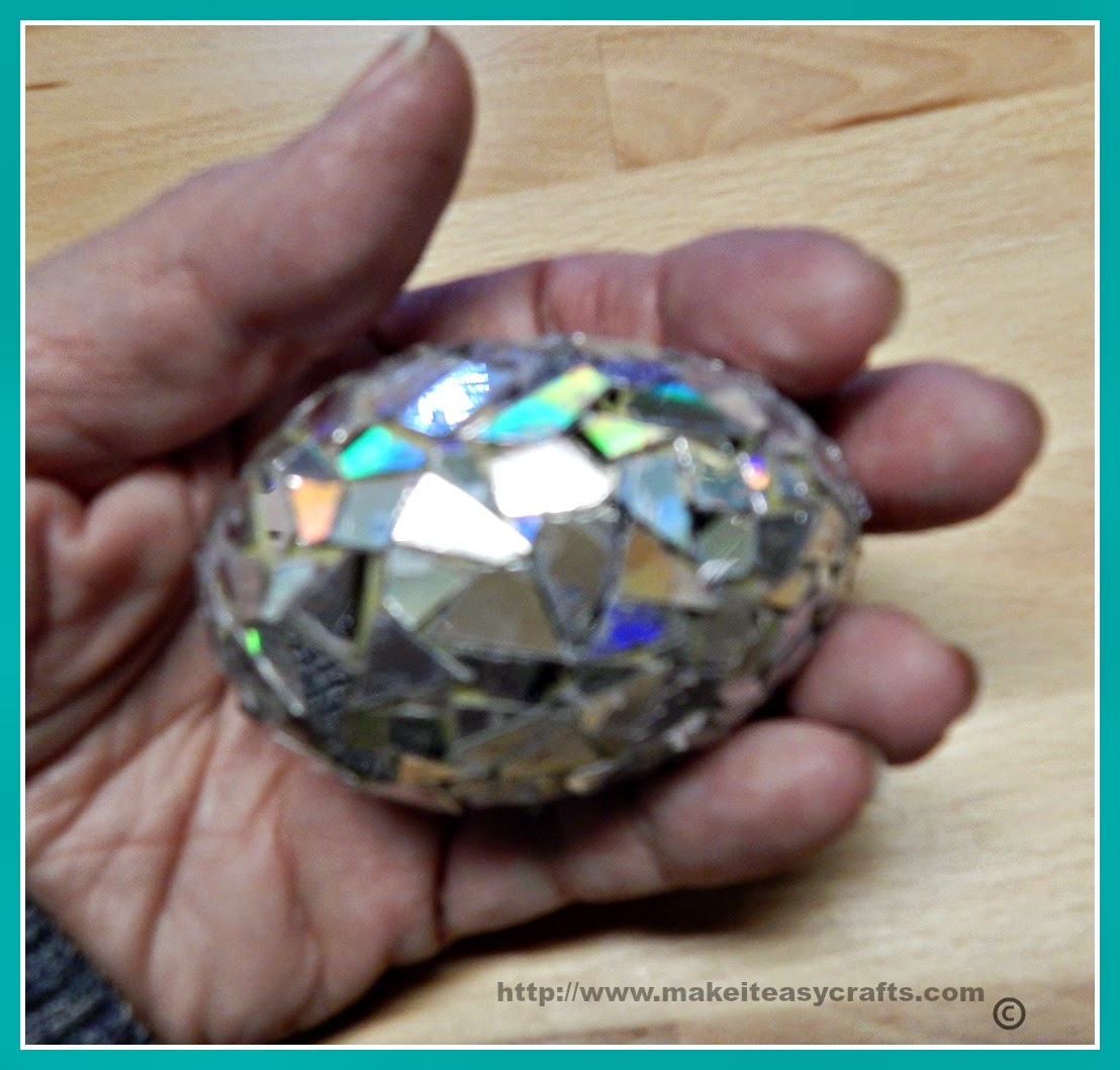Recycled DVD mosaic Easter egg