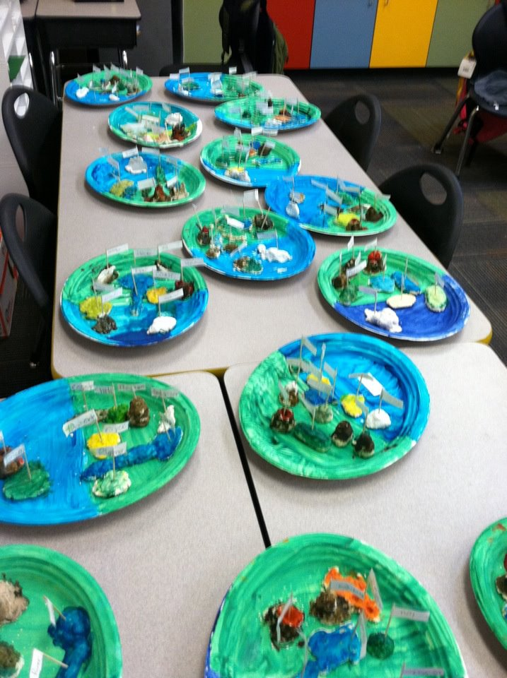 To test my students on landforms i gave them each a paper plate salt