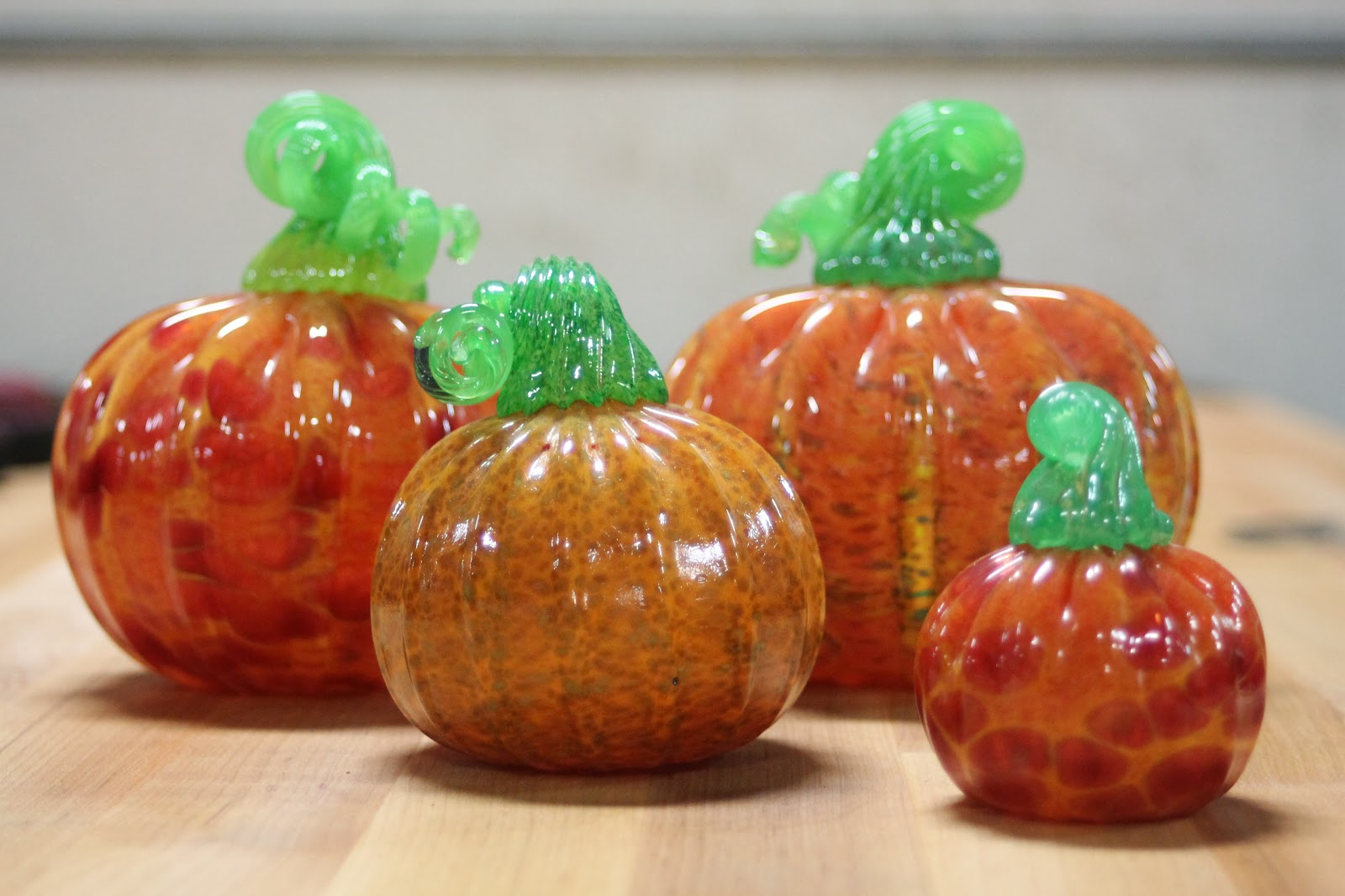 Blown Glass Pumpkins, Handmade, Artisanal Craft