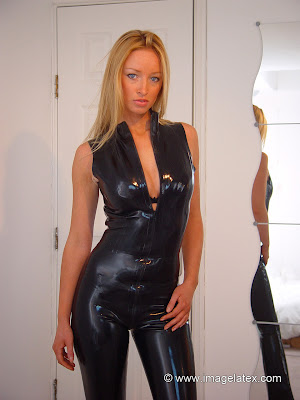 Sultry Lauren Sexy In Skin Tight Latex Catsuit