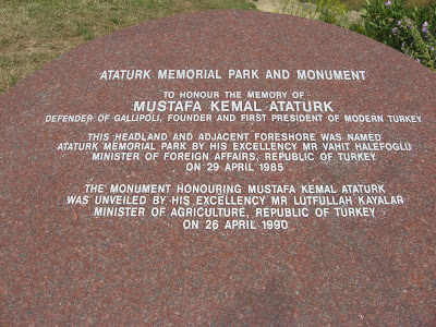 ANZAC, Ataturk Memorial, Mustafa Kemal Ataturk, transcript of plaque