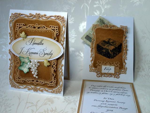 handmade card by Ewa Jarlińska_ Komunia Święta_winogrono_Spellbinders